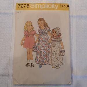 Vintage 1975 Simplicity Childs dress pattern 7275